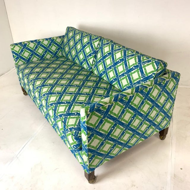 Mid-Century Modern Tuxedo or Parsons Settees / Sofas in Textured Lattice Bamboo Upholstery - a Pair For Sale - Image 3 of 10