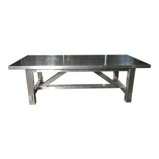 "Timothy Oulton Industrial ""Boston"" Dining Table in Aero Metal For Sale"