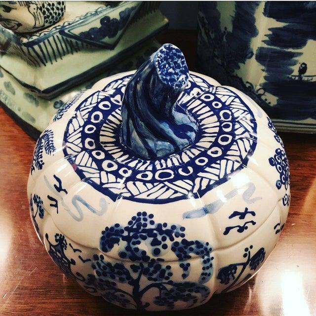 Blue Porcelain Hand Painted Pumpkin Tureen For Sale - Image 4 of 4