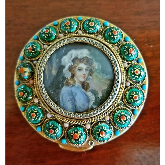Green Early 19c French Gold Box With Enamel and Miniature Portrait For Sale - Image 8 of 12