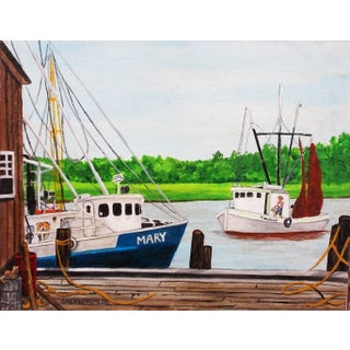 """""""Two Boys Shrimping"""" Painting by Bermudian Artist Jackie Holmes For Sale"""