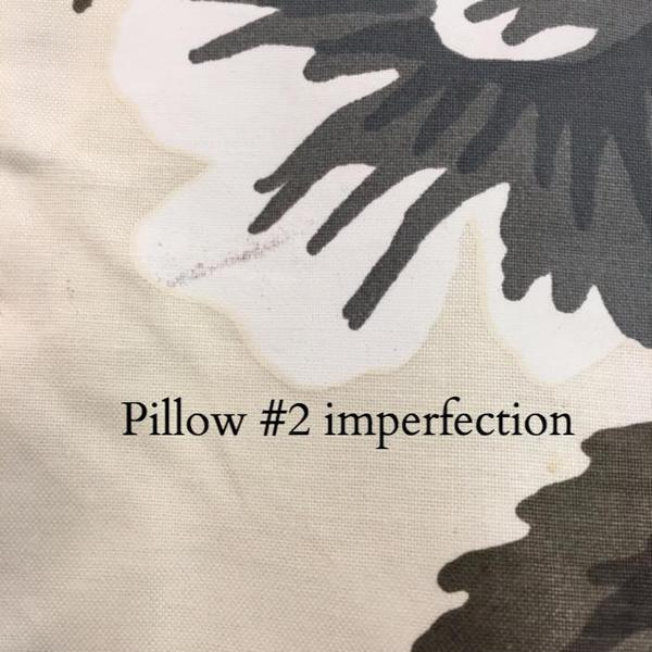 """Pyne Hollyhock Charcoal Pillow Covers - a Pair 20"""" Sq - Image 3 of 4"""
