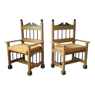 1980s / Postmodern Style Handmade Studio Sculptural Accent Chairs a Pair For Sale