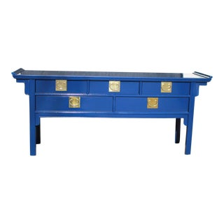 20th Century Chin Hua Lacquered Bold Blue Pagoda Console Server Buffet For Sale