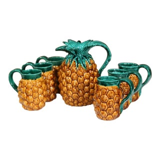 Mid-20th Century French Hand-Painted Barbotine Pineapple Bar Set From Vallauris For Sale