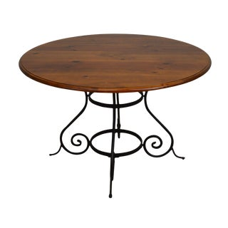 "1990s 48"" Round Pine Top Scrolled Iron Base Dining Table For Sale"