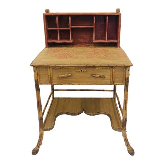 Antique Scorched Bamboo Desk For Sale