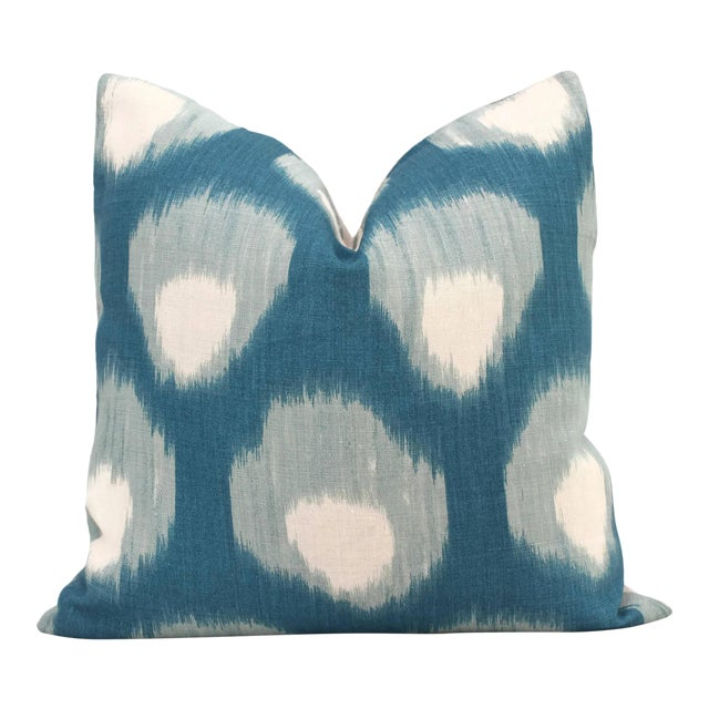 "20"" x 20"" Peter Dunham Peacock Blue Bukhara Decorative Pillow Cover - Image 4 of 4"