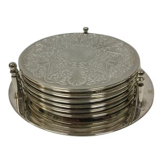 Vintage Mid-Century Silverplate Coaster Set and Holder - Set of 7 For Sale
