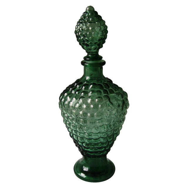 Vintage Dark Green Decanter with Bubble Motif For Sale