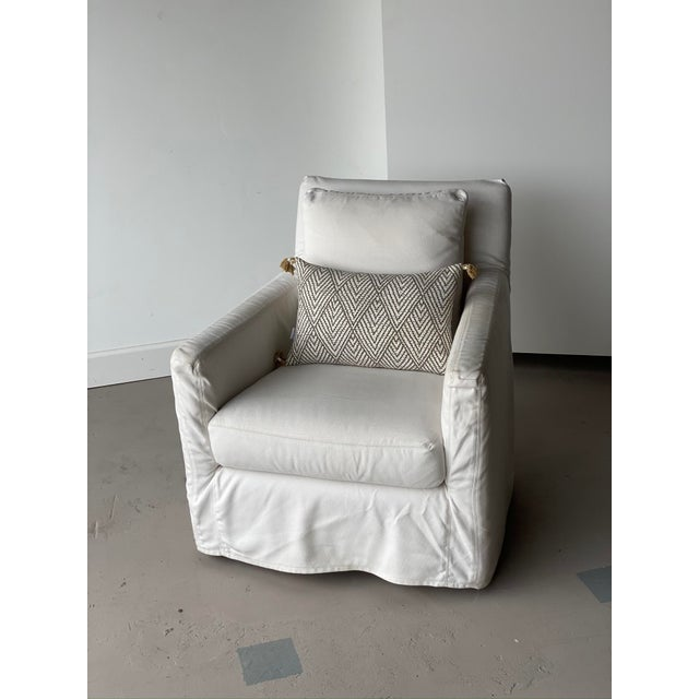 Early 21st Century Kapas Slipcovered Swivel Chair For Sale - Image 5 of 10
