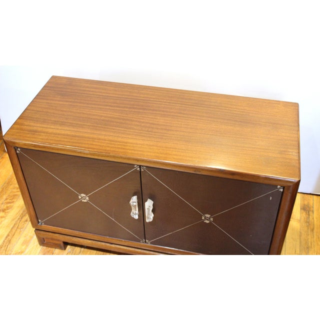 Leather Grosfeld House Art Deco Mahogany Low Cabinets or Nightstands - a Pair For Sale - Image 7 of 13