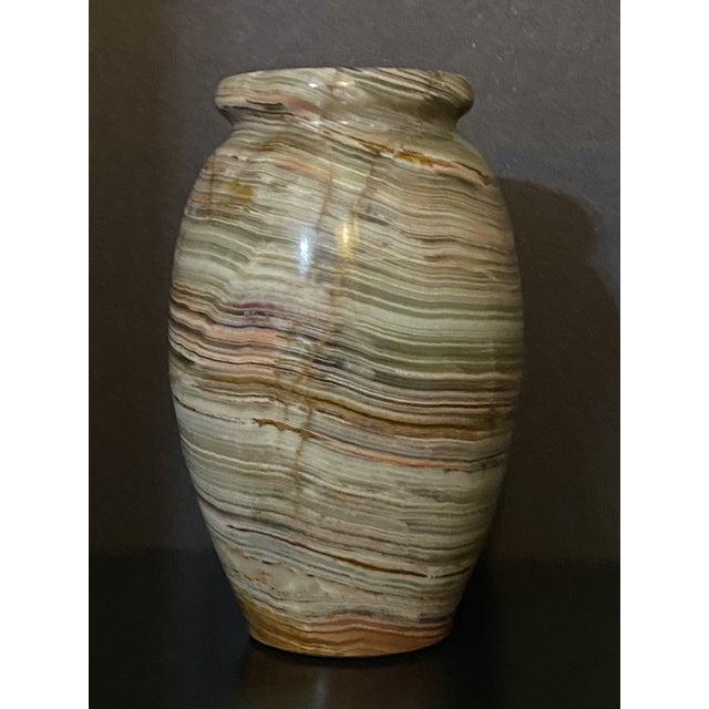 Rustic 1960s Vintage Polished Onyx Stone Bud Vase For Sale - Image 3 of 7
