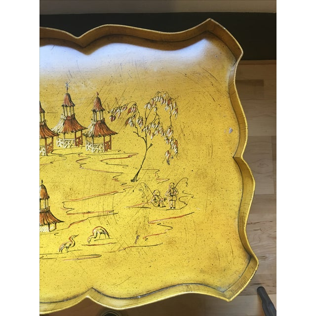 Yellow Pagoda Tole Tray Table - Image 5 of 7