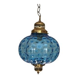 Mid-Century Blue Swag Pendant Light