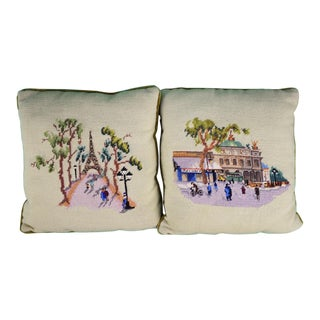 1960s Traditional Custom Paris Celedon Needlepoint Pillows - a Pair For Sale