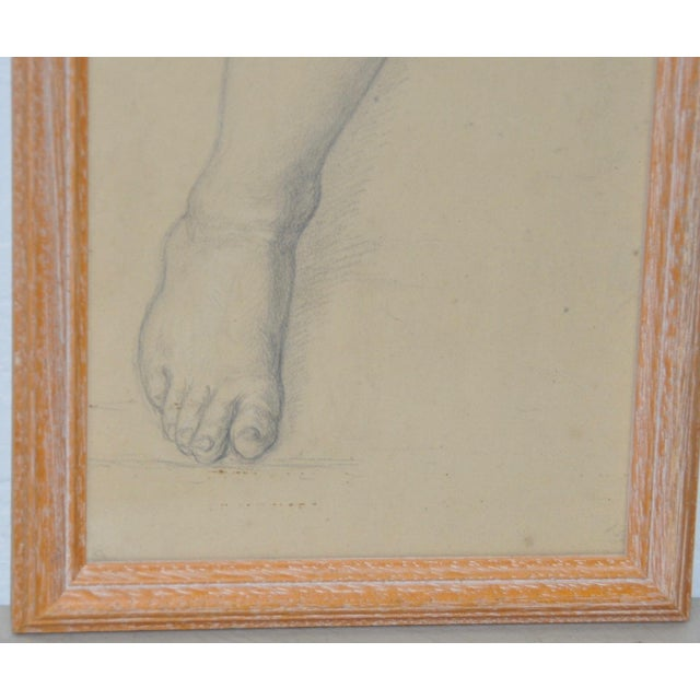 Figurative Vintage Study of a Leg and Foot Original Graphite Figure Drawing C.1960s For Sale - Image 3 of 6