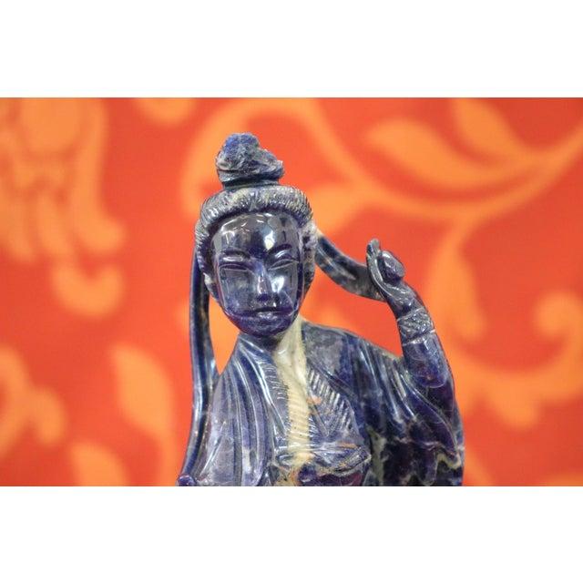Gemstone 20th Century Chinese Sculpture in Lapis Lazuli Geisha Figure For Sale - Image 7 of 10