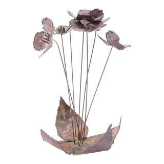 Mid Century Modern Poppy Flowers Metal Decor