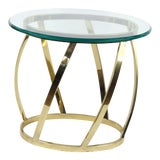 Image of 1960s Mid Century Modern Italian Glass Gold Metal Side Table For Sale