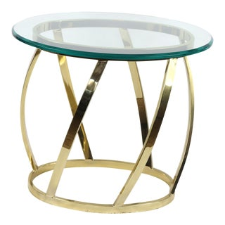 1960s Mid Century Modern Italian Glass Gold Metal Side Table For Sale