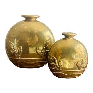 Vintage Brass Dolbi Cashier Vases - a Pair For Sale