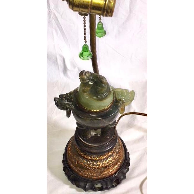 Vintage Chinese Jade Lamp For Sale - Image 4 of 13