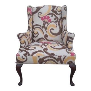 1980s Vintage Custom Upholstered Wingback Chair For Sale