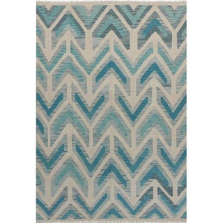 "Blue and Grey Handwoven Wool Colorful Reversible Kilim Carpet - 5'6"" X 8'1"" For Sale"