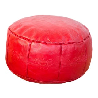 Antique Revival Leather Moroccan Pouf Ottoman - Cherry Red For Sale