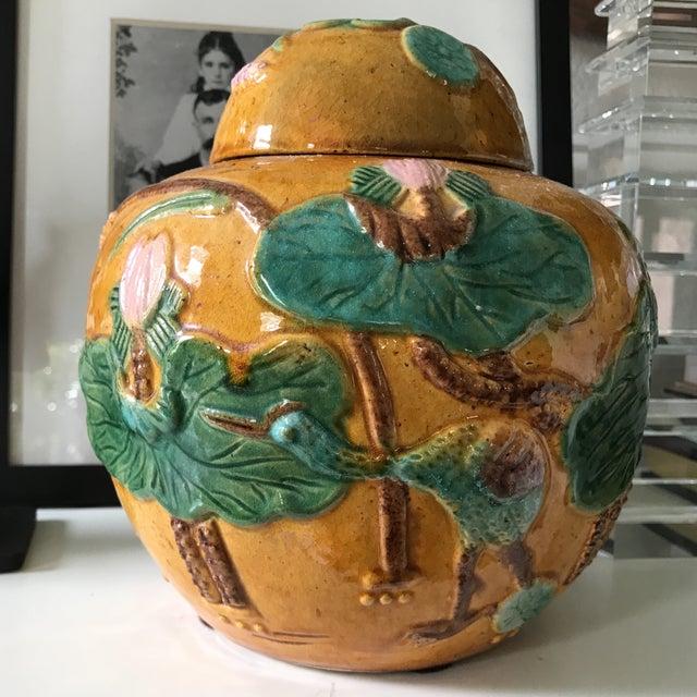 Vintage Majolica Ginger Jar For Sale - Image 4 of 5