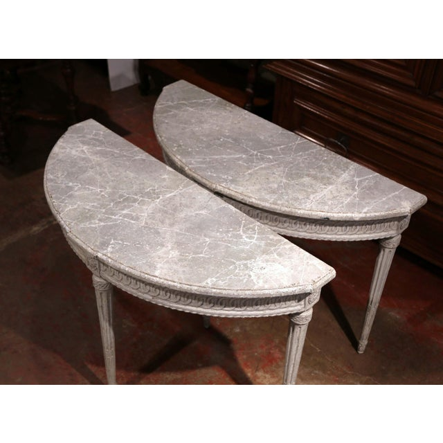 Pair of 19th Century Louis XVI Carved Painted Demi-Lune Console Tables For Sale - Image 4 of 9
