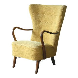 1940s Danish Easy Chair With Open Armrests in Beech by Alfred Christensen For Sale