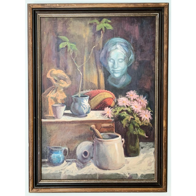 Canvas 1960s Vintage Sharon Johnson Oil on Canvas Still Life Painting For Sale - Image 7 of 7