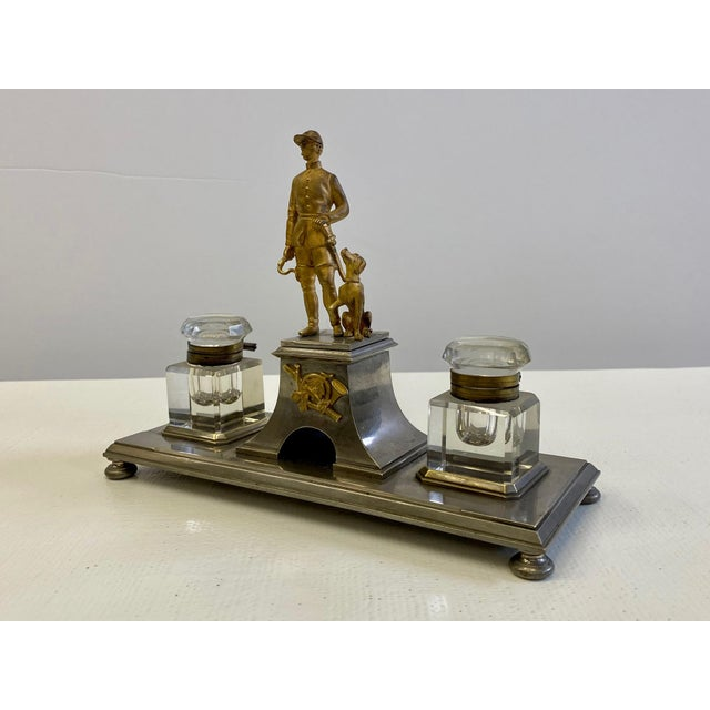 Metal Gilt Bronze Brass and Cut Glass Horseman & Hound Dog Desk Inkwell Set For Sale - Image 7 of 10