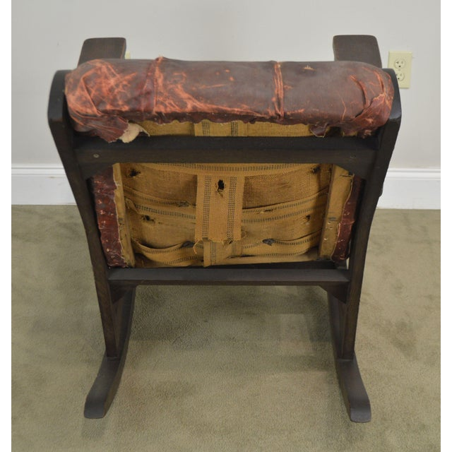 1900 - 1909 Antique Mission Arts & Crafts Period Oak Rocker With Cut Outs- Possibly Limbert For Sale - Image 5 of 13