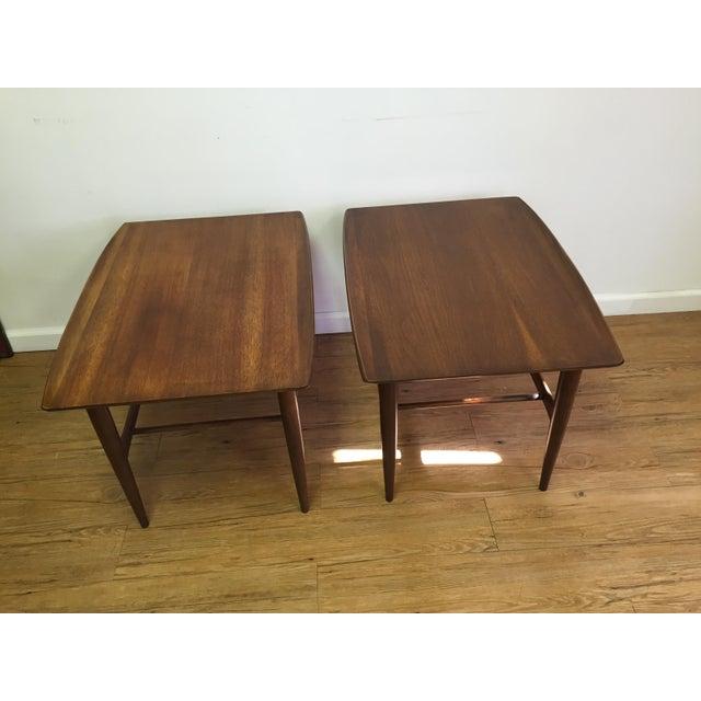 Bassett Mid-Century Two Tier Walnut Surfboard Side Tables - Pair - Image 3 of 11