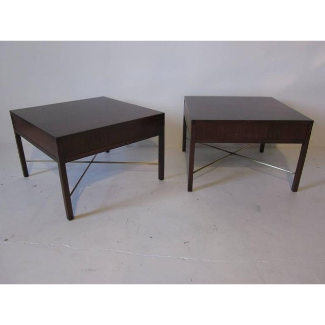 Brass Rosewood and Brass End Tables - a pair For Sale - Image 7 of 7