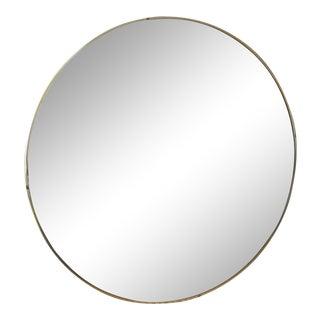 Mid Century Vintage Round Convex Mirror With Brass Frame For Sale