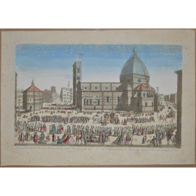 Antique Hand Colored Engraving of Florence, Italy - Image 2 of 8