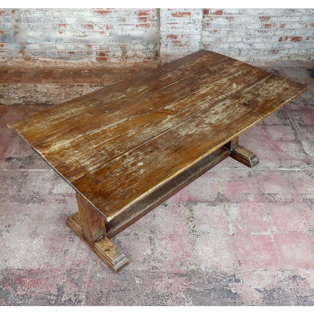 19th Century 19th Century Farmhouse Trestle Dining Oak Table For Sale - Image 5 of 10