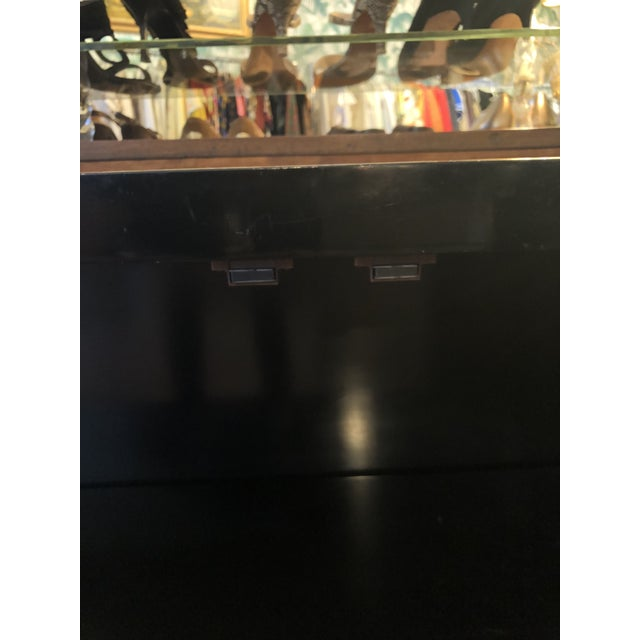 Gold Black Lacquer Mastercraft Console Cabinet For Sale - Image 8 of 13