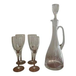 Vintage Etched Decanter & Wine Glass Set- 5 Pieces For Sale