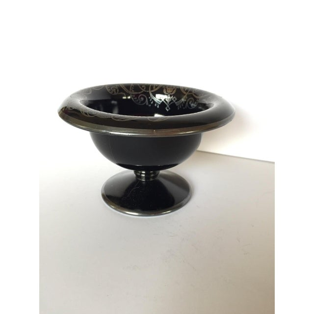 Metal Black Glass & Sterling Silver Pedestal Bowl / Candy Dish / Compote For Sale - Image 7 of 8