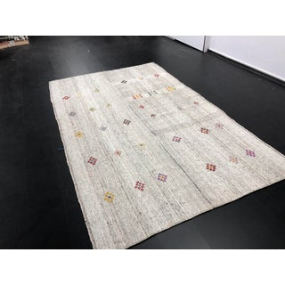 1960s Vintage Floral Patterned Traditional Turkish Anatolian Aztec Handwoven Kilim Rug- 6′10″ × 11′3″ Preview