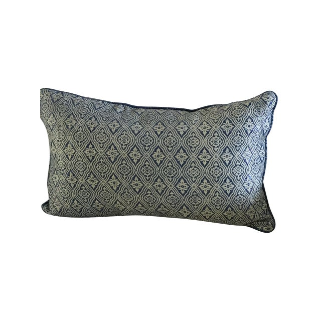 Blue Silver & Beige Accent Pillow - Image 1 of 4