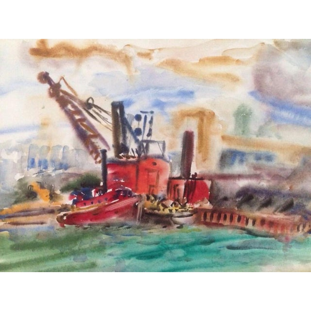 1950s 1950s Esther Landis Double Sided Chicago Pier Painting For Sale - Image 5 of 6