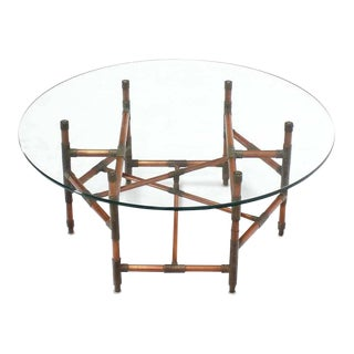 Copper Pipe and Fitting Sculpture Base Round Glass Top Coffee Table For Sale