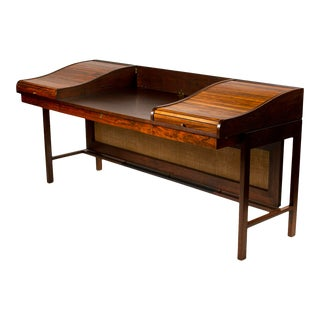 Edward Wormley for Dunbar Solid Brazilian Rosewood Tambour Desk Model 912c For Sale