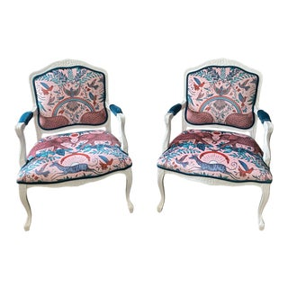 Vintage French Provincial Arm Chairs - a Pair For Sale